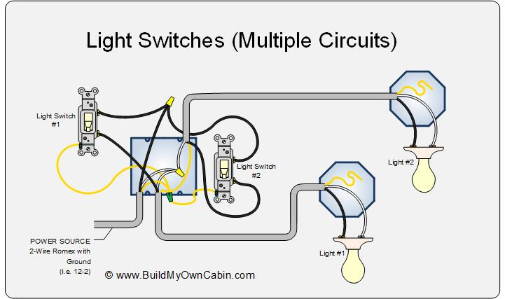 Light Switch Wiring Diagram - Multiple Lights | Two Light Wiring Diagram Power At Light |  | Build My Own Cabin