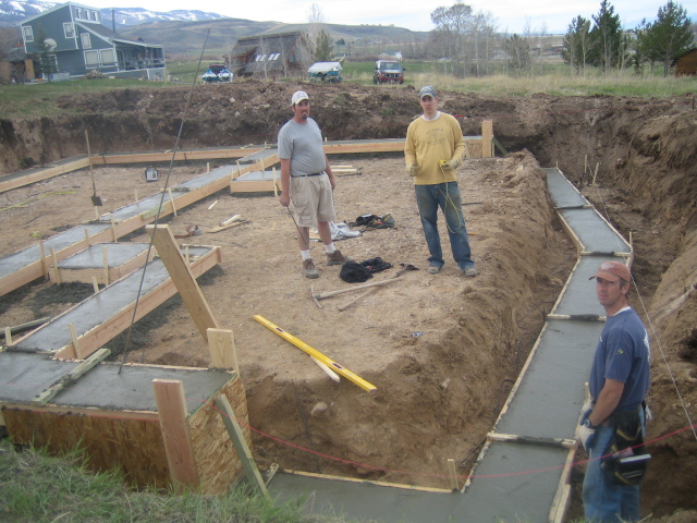 Concrete footings Foundation pouring