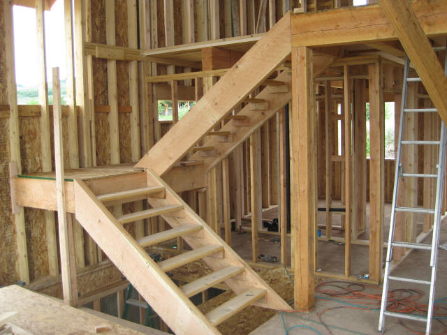 Build Wood Deck Stairs And Landing: Framing Interior Walls