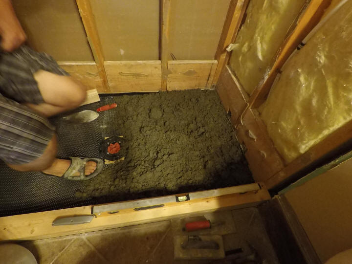 How To Build A Tile Shower Floor Shower Pan Construction Diy
